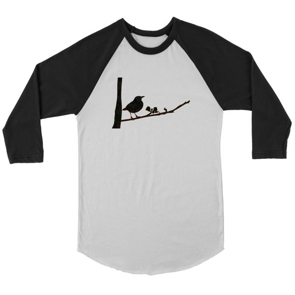 Black Bird Canvas Unisex 3/4 Raglan