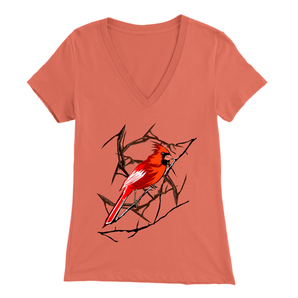 Northern Cardinal Bird Bella Women's V-Neck