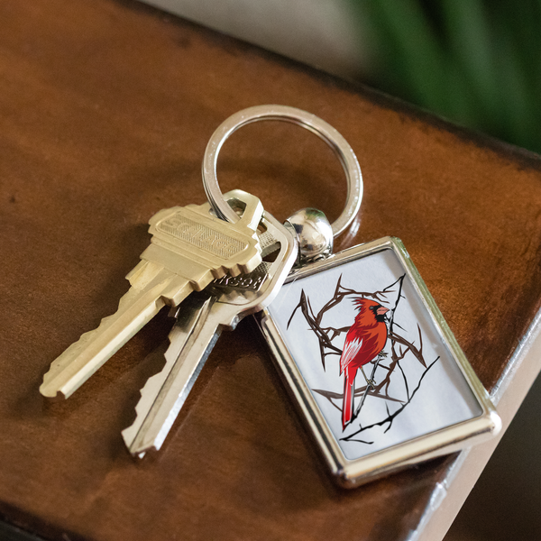Northern Cardinal Bird Keychain
