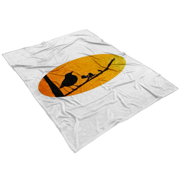 Black Bird Fleece Blanket