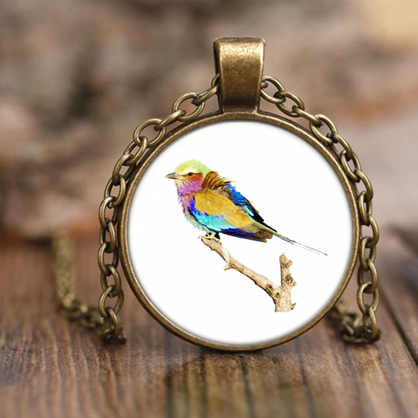 Lilac-breasted Roller Necklace Antique Brass