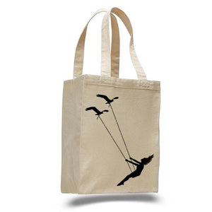 Flying Bird Swing: Cotton Canvas Natural Tote Bag