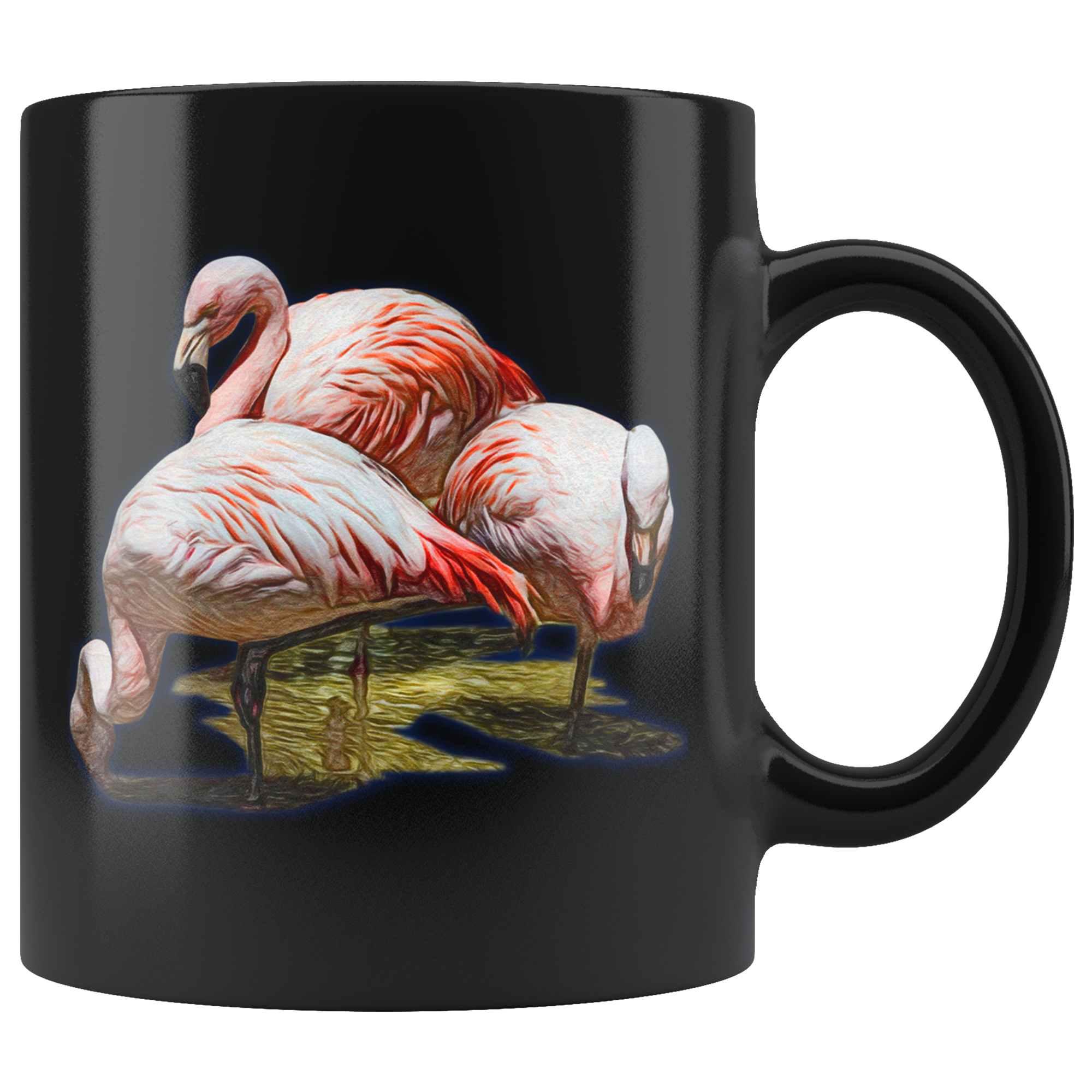 Flamingo Black 11oz Mug
