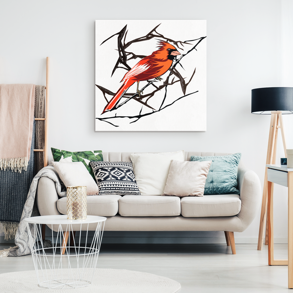 Northern Cardinal Bird Square Canvas Wrap