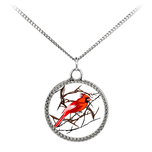Northern Cardinal Bird Necklace Deco Coin