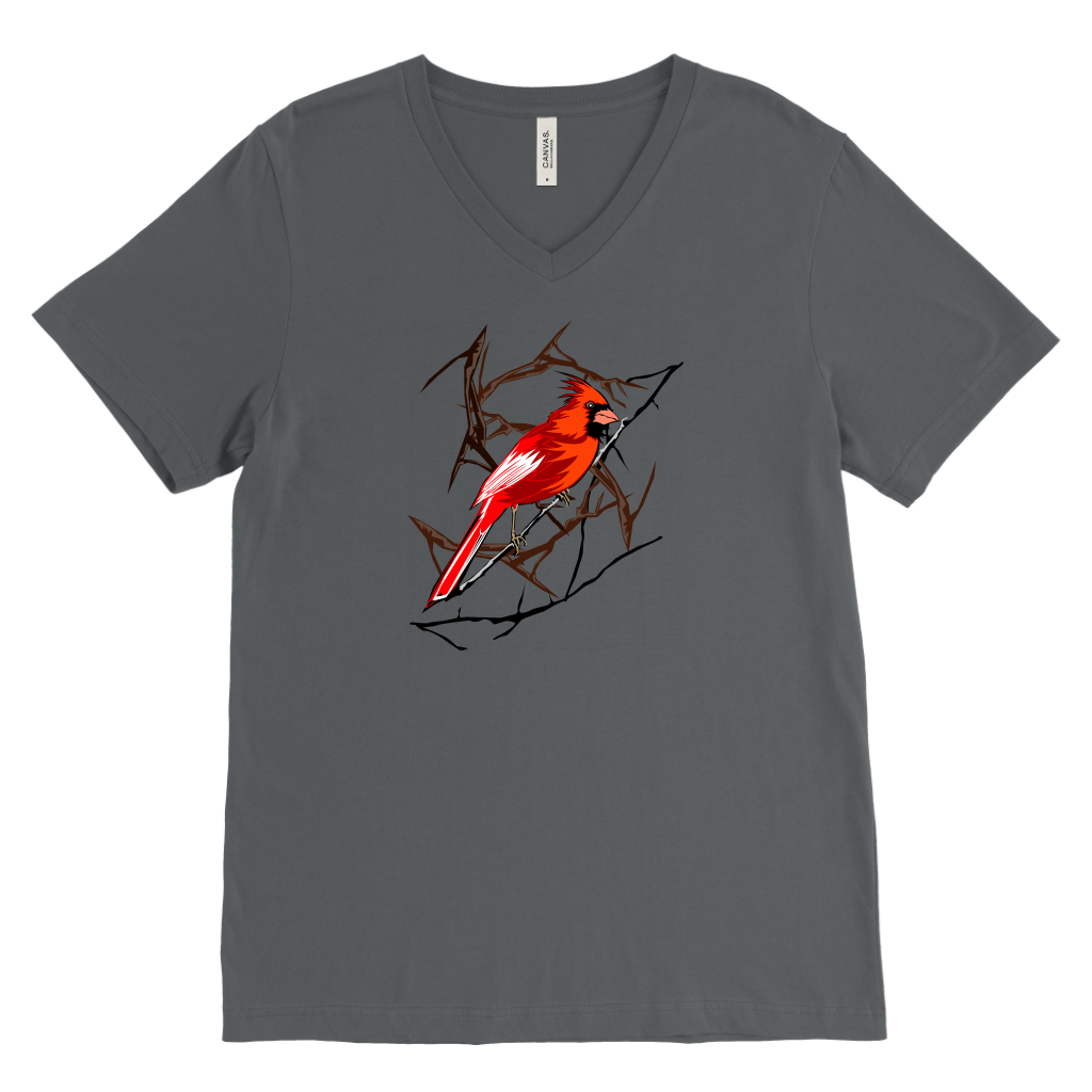 Northern Cardinal Bird Canvas Men's V-Neck