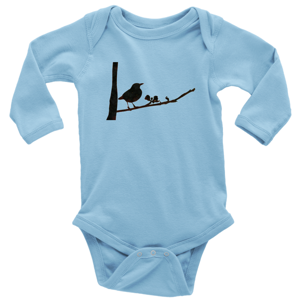 Black Bird Long Sleeve Baby Bodysuit