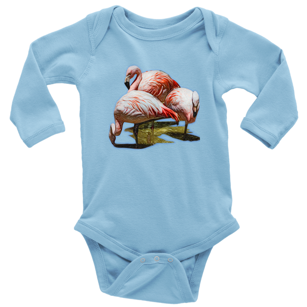 Flamingo Long Sleeve Baby Bodysuit