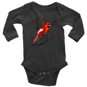 Northern Cardinal Bird Long Sleeve Baby Bodysuit