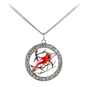 Northern Cardinal Bird Necklace Stone Coin