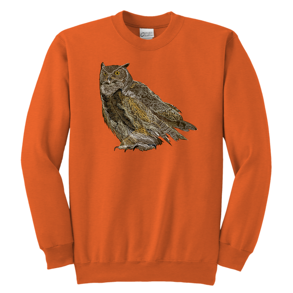 Great Horned Owl Youth Crewneck Sweatshirt