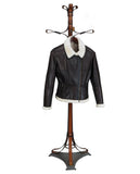 AMBER. S44490-  Fitted Flyer Brown Jacket in  Napa Super Light Weight) Ironed Natural Wool Interior