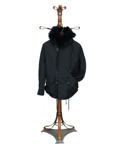 ANORAK. CI 002B - Jacket in Super Light Showerproof Material/Fox Collar trim/full Rabbit Fur Interior
