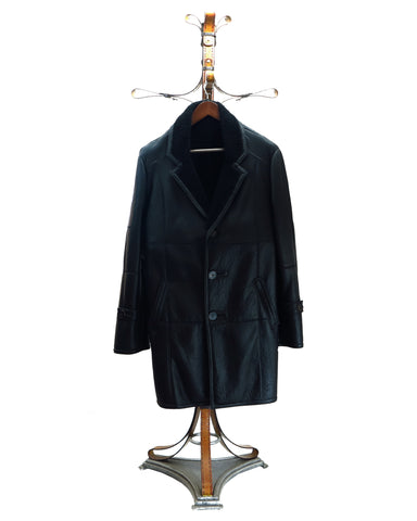 DALLAS.S3634- NAPA Baby Lamb Leather Long Coat (4 Buttons Flapped Over the other Panel For Extra Protection)