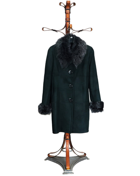 JULIA. S4291-Ladies Baby Lamb Black Suede Coat, Trims in Toscana Lamb Black Snow-Tip Fur. Special 30 % off marked price. One only In stock to be cleared.