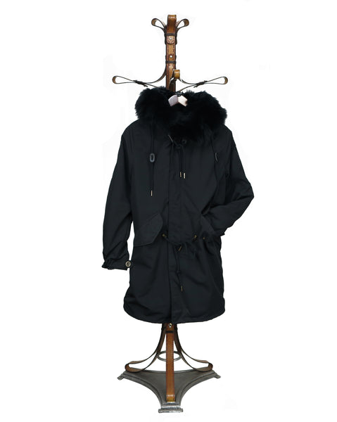 ANORAK  LONG. CI 001B - 3/4 COAT in Super Light Showerproof Material/Fox Collar trim/full Rabbit Fur Interior