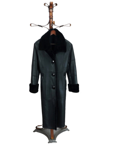 ROMINA - Lady Long Coat in Black Baby Lamb Napa. Black Opossum Collar and trims. Ironed Wool Inside.