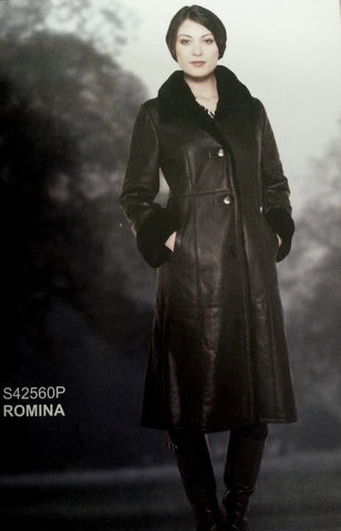 ROMINA - Long Coat in Baby Lamb (Oppossum Collar and trims)