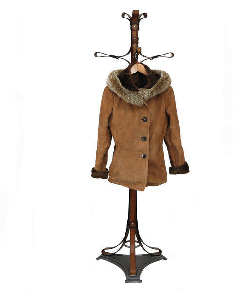 TIFFANY. S44458F. Jacket with hood (as CHELSEA-S44542FStyle). 4 Buttons Closure Jacket in Suede Napa With Fox Hood and Collar Trim.
