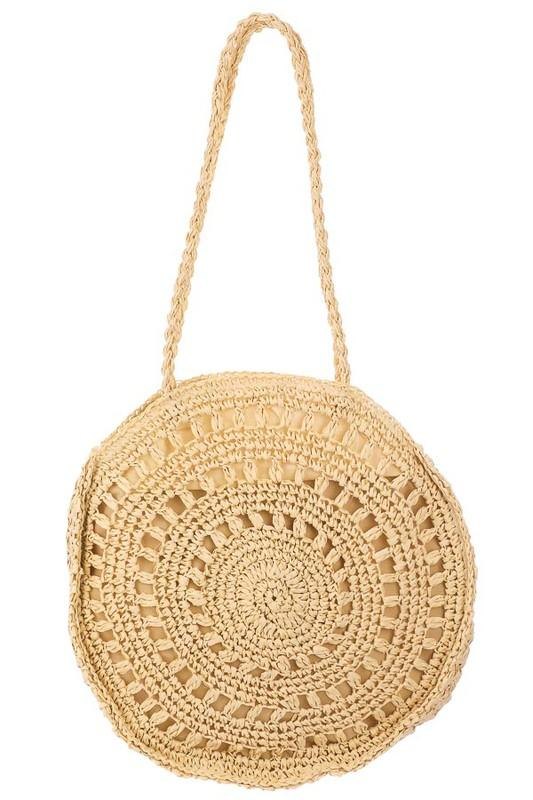 Braided Straw Circle Beach Bag - Lilac&Lemon