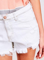 White Frayed Hem Denim Shorts
