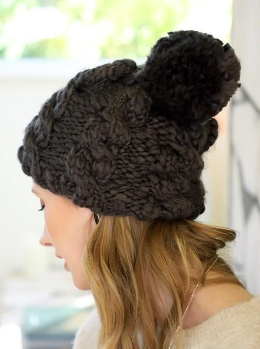 Charcoal Chunky Knit Beanie