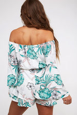 Off The Shoulder Tropical Romper - Lilac&Lemon