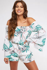 Off The Shoulder Tropical Romper