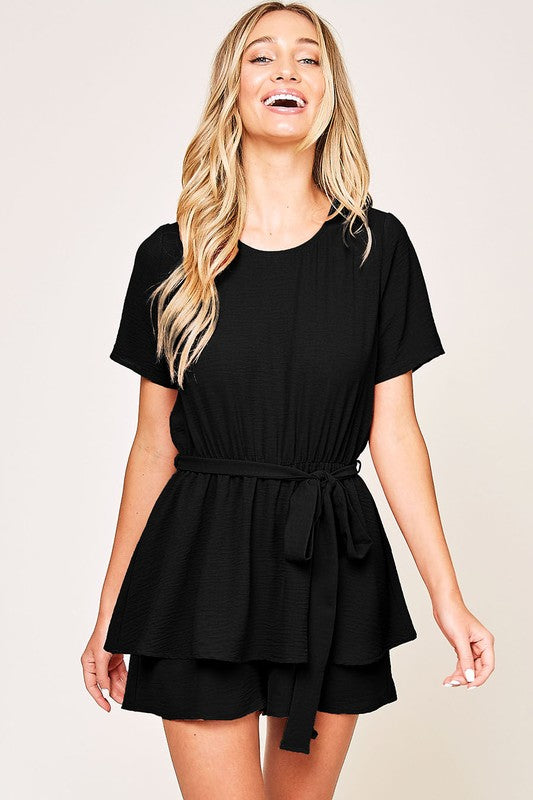 Black Tiered Romper