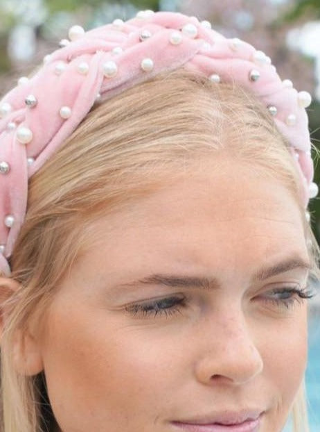 Pink Braided Velvet Pearl Headband
