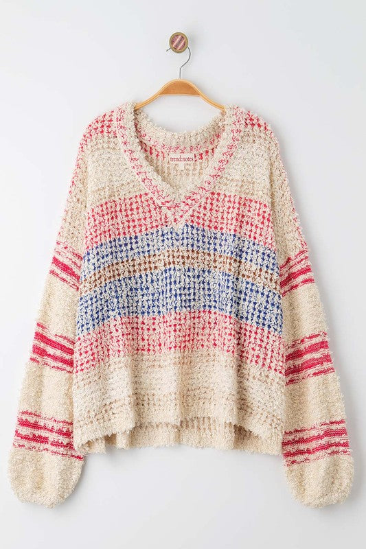 Pink Striped Knit Sweater