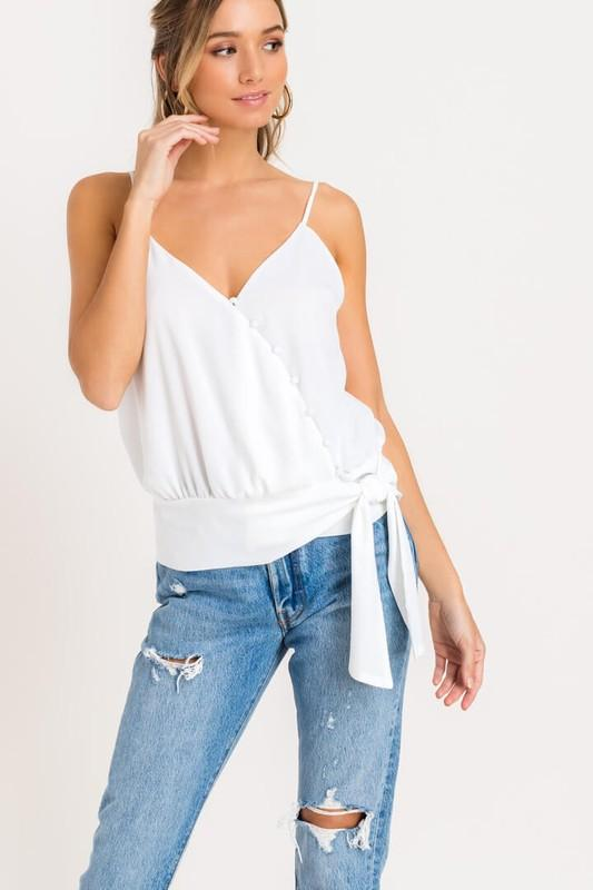 White Button Front Cami