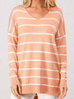 Coral and White Striped Tunic
