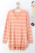 Coral and White Striped Tunic - Lilac&Lemon