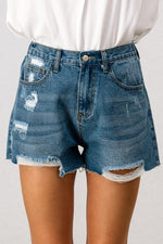 High Waisted Boyfriend Denim Shorts