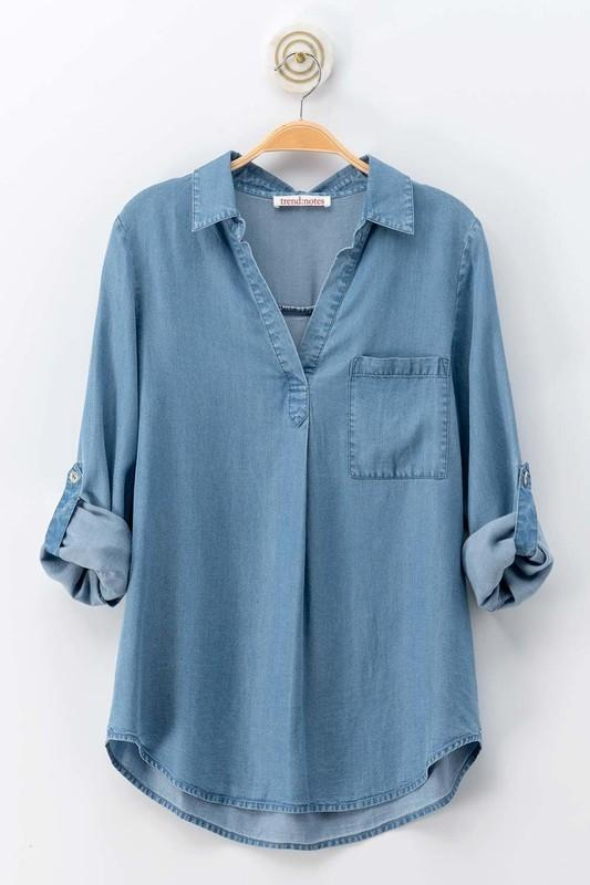 3/4 Sleeve Chambray Shirt - Lilac&Lemon
