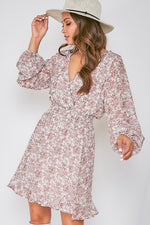 Mauve Long Sleeve Floral Print Dress