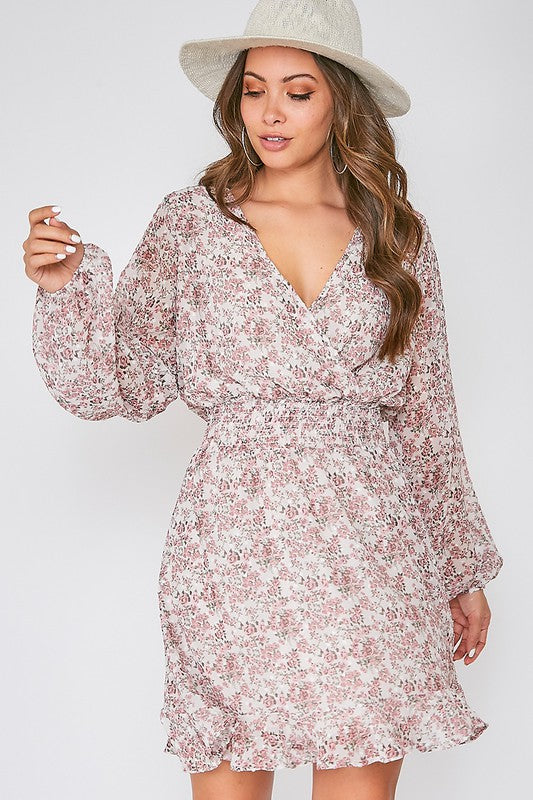 Mauve Long Sleeve Floral Print Dress - Lilac&Lemon