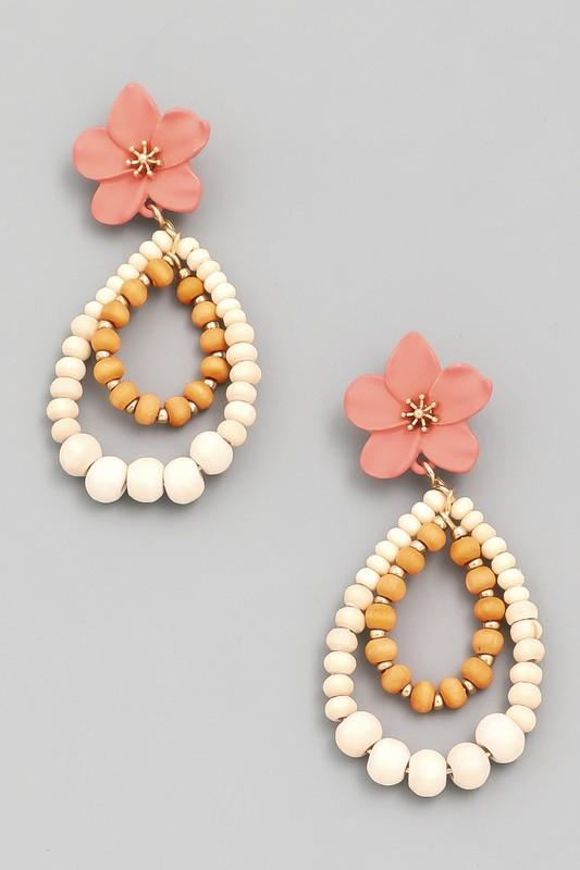 Peach Flower Beaded Drop Earring - Lilac&Lemon