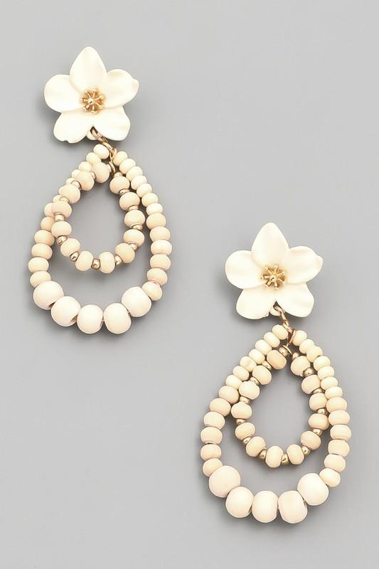 Ivory Flower Beaded Drop Earring