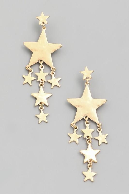 Gold Star Drop Earrings
