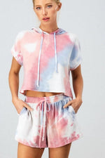 Pink and Blue Tie Dye Short Set