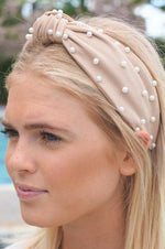 Cream Pearl Top Knot Headband - Lilac&Lemon