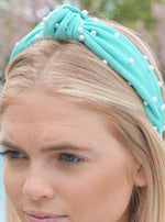 Mint Pearl Top Knot Headband