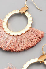 Pink Fan Tassel Earrings - Lilac&Lemon