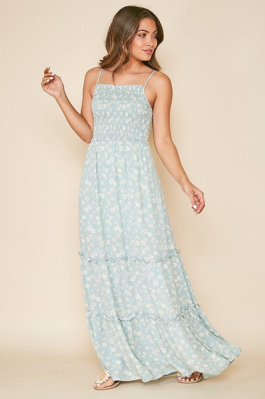 Mint Daisy Print Maxi Dress