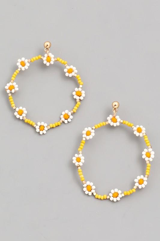 Yellow Daisy Earrings - Lilac&Lemon
