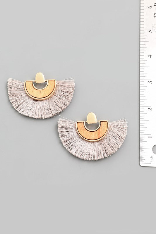 Silver Tassel Fan Earrings - Lilac&Lemon