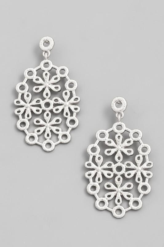 Silver Floral Drop Earrings - Lilac&Lemon