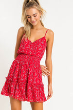 Red Floral Print Mini Dress - Lilac&Lemon
